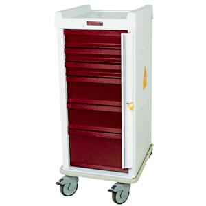 Harloff Narrow Six Drawer Emergency Cart Breakaway Lock Standard Package #MRN6B